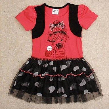 jurk prinses partij jurken voor kinderen leuk meisje afdruk zomer met korte mouwen jurken willekeurige afdruk – EUR € 11.36