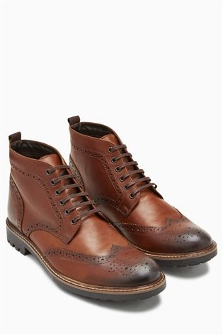 2c32ef025e6e Buy Brogue Cleat Boot from the Next UK online shop Mens Brogue Boots, Tan  Brogues