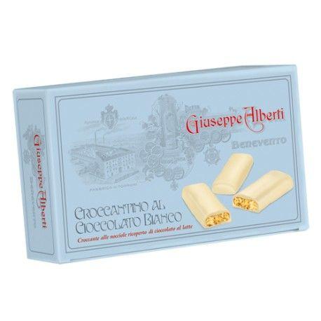 """Croccantino al cioccolato bianco """"Alberti""""  NOVITA'.  Golose barrette di croccante con nocciole tritate ricoperte di cioccolato bianco."""