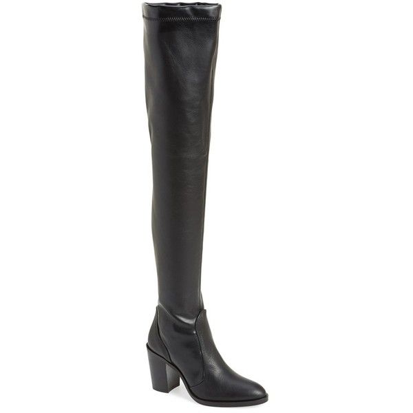 "Topshop 'Commander' Over the Knee Boot, 3"" heel ($210) ❤ liked on Polyvore featuring shoes, boots, black, over-the-knee boots, high heel leather boots, high heel boots, thigh high boots, black leather over the knee boots and black boots"