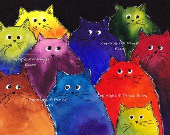Maine Coon Kätzchen sehr bunt zweifarbigen Katze Kunst 8 x 10 Print schwarz Regenbogen abstrakt Rot Grün Blau Orange