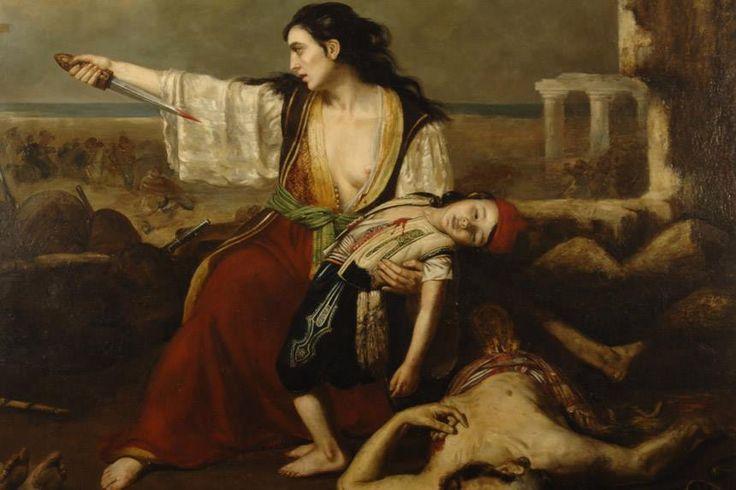 E. de Lunsac, η έξοδος του Μεσολογγίου. Μετά το θάνατο του άντρα της, η γυναίκα σκοτώνει το παιδί της και αυτοκτονεί, για να μη πέσουν στα χέρια των εχθρών.