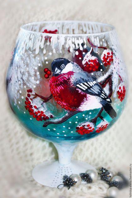 Бокалы, стаканы ручной работы. Ярмарка Мастеров - ручная работа. Купить Новогодний бокал Снегири. Handmade. Комбинированный, подсвечник