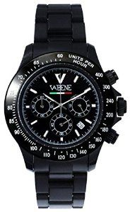Product Description Case size: 40mm diameter Swiss made quartz battery movement Black round dial with indices Black plastic polycarbonate case Black acrylic bracelet with locking clasp Fixed stainless steel bezel Date calendar function Mineral glass crystal Water resistant to 50atm Limited Edition