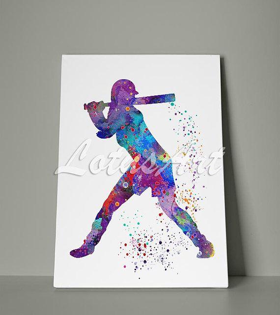 Girl Baseball Softball Canvas Print Watercolor Art Sports Art Etsy Baseball Wall Art Sports Art Print Stretched Canvas Wall Art