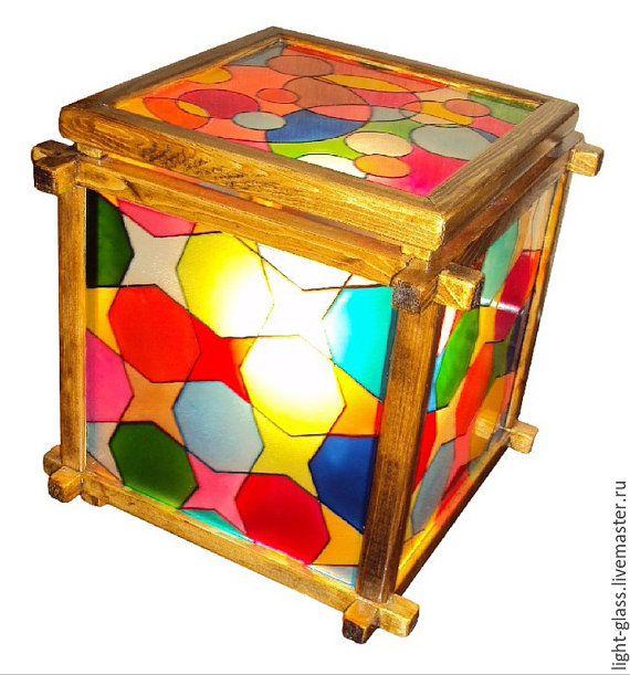 Витражный светильник Кубик радужный от Stainedglasss500 на Etsy