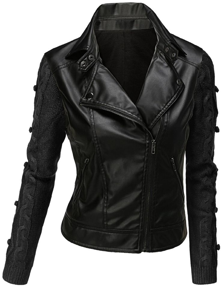 Womens Black Leather Jacket NsRA6r