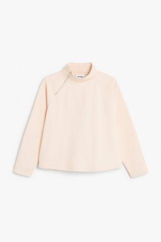 Monki Image 2 of Slant zip sweater in Orange Light