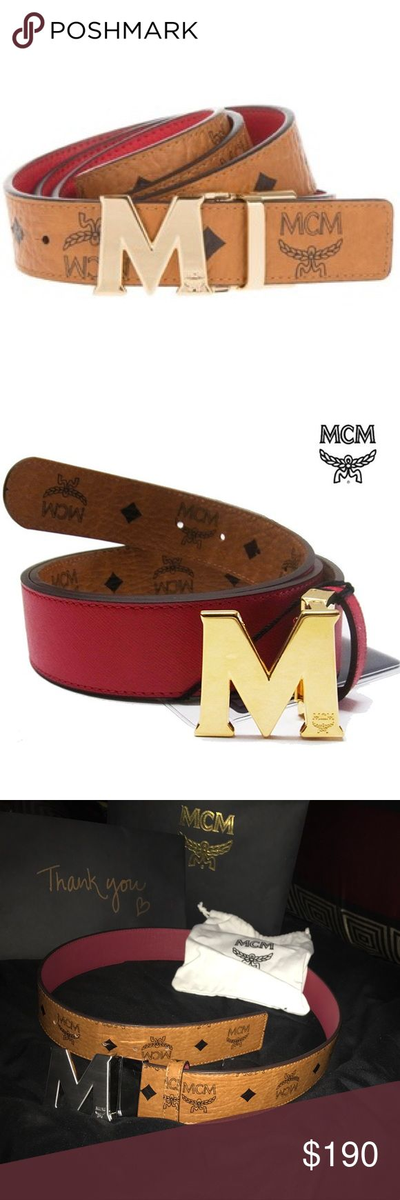Authentic MCM Belt Authentic Reversible MCM Belt. Genuine leather. Worn a few times. Selling because I want the black one instead. Practically new. Comes with bag and mesh bag MCM Accessories Belts
