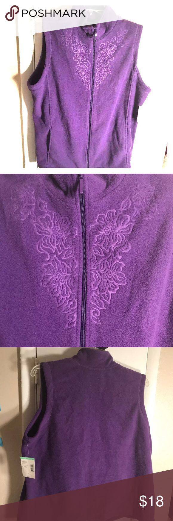 Fleece Vest Purple women's 1X Laura Scott Vest  Micro Fleece Purple   New with Tags  Embossed  Brand: Laura Scott  Retail: $34  Size: 1X Laura Scott Tops Sweatshirts & Hoodies