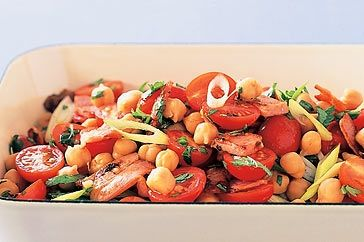 This chickpea salad makes a great side dish, or light lunch, and can be prepared in less than twenty minutes.