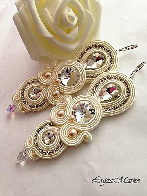 Wedding beige soutache long earrings