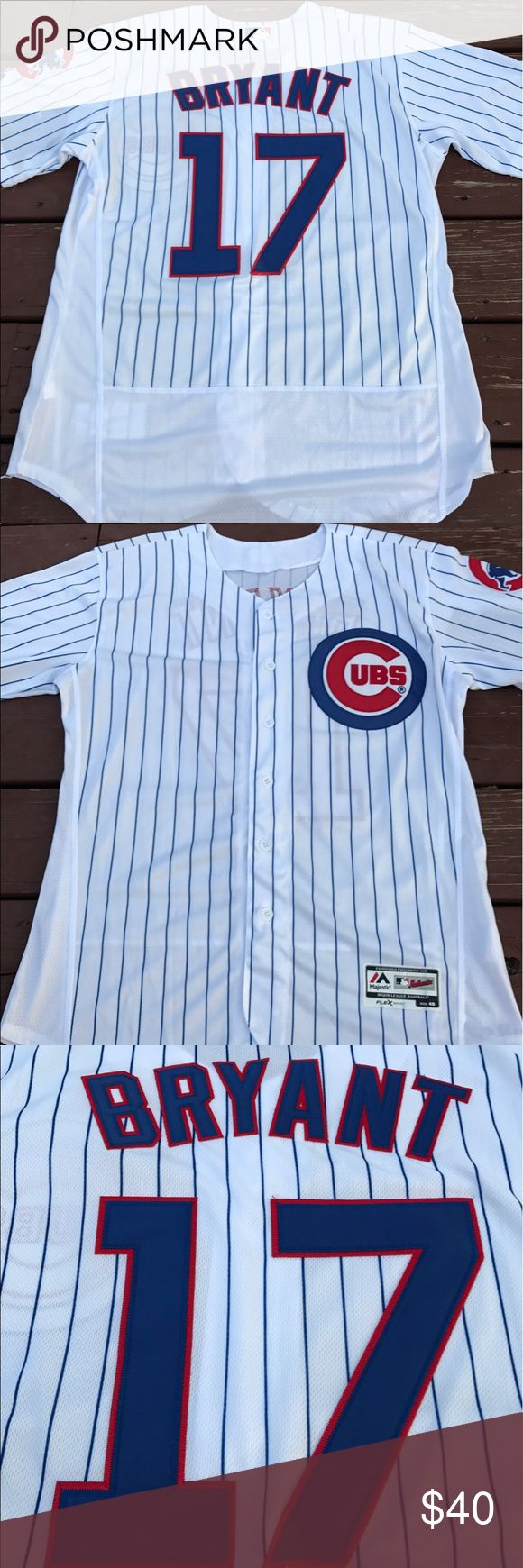 Men's Chicago Cubs Kris Bryant Home Jersey (M) Men's Chicago Cubs Kris Bryant Home Jersey by Majestic Athletic. Fully embroidered, brand new with tags, size Medium(40) On-Field Flex Base jersey. Please check my other listings for more Cubs merchandise! Bryant. Rizzo. Baez. Schwarber. Russell. Contreras. I've got em all! Men, Women and Kids. Majestic Shirts Casual Button Down Shirts