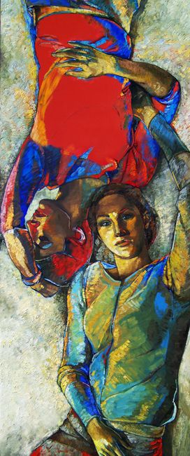 Andrea Papageorgiu 'Sisters'  2013 oil on canvas
