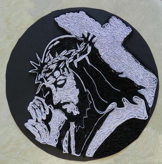 A Journey into Quilling & Paper Crafting: Quilled Jesus christ Portrait Bearing Cross - Quilled Landscape Picture