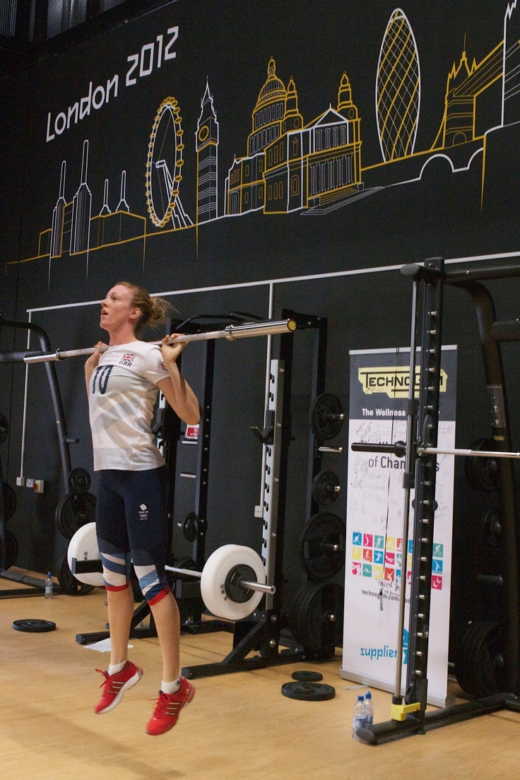 Lynne Beattie - UK Volleyball Trainer - is training in the Strength Room at the Olympic Village Gym!
