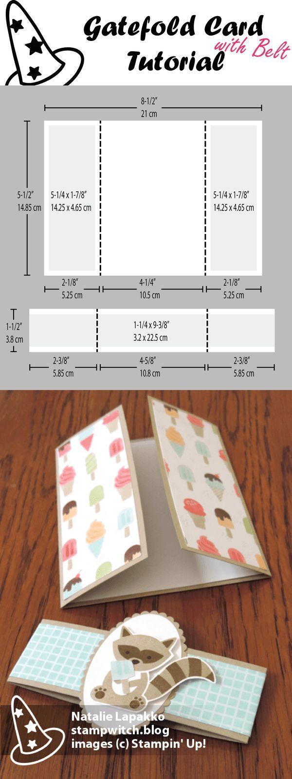 Cartão Gatefold com tutorial de cinto por Natalie Lapakko com salsichas saborosas DSP e selos Foxy Friends de Stampin 'Up!