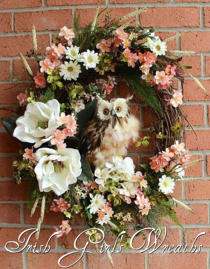 Large Spring Blossom Owl Wreath, Peach Blossoms, Dogwood, Magnolia, Daisy, floral Wreath by IrishGirlsWreaths on Etsy