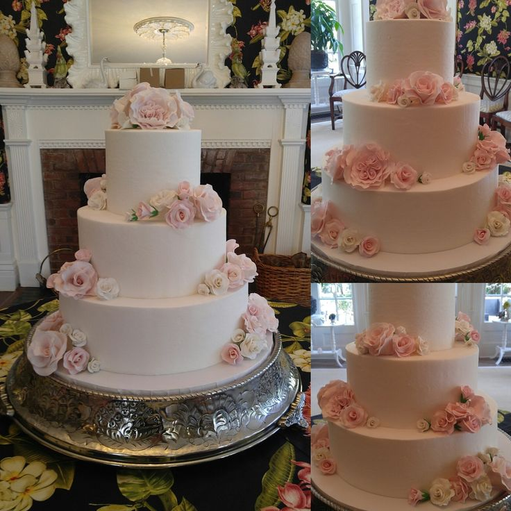 Awesome Classic, Timeless Pink Rose Wedding Cake. Flawless Buttercream Frosting  With No Borders. Gumpaste