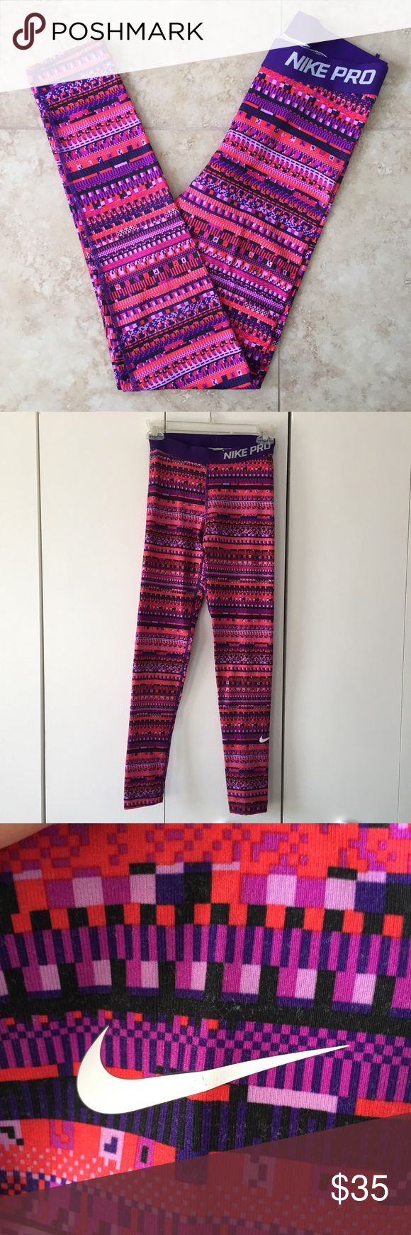 """Nike Pro Dri-FIT Pink Purple Tribal Print Leggings Pink and purple tribal print Nike Pro Dri-FIT athletic leggings in size small. Soft inside and stretchy material. Great for running, Pilates, yoga, and other exercises. Some wear on waistband and legs (see pictures). 27"""" inseam. 35"""" outseam. Nike Pants Leggings"""