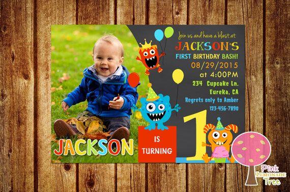 Little Monster 1st Birthday Party Invitation, Monster Birthday Invite, Chalkboard Invitation, First birthday Invite