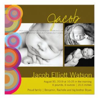 Colorful Rainbow Pop Circles Birth Announcement