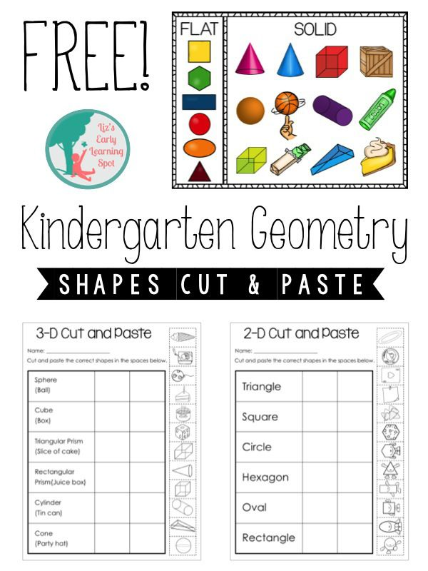 FREE print-and-go Kindergarten Geometry activities