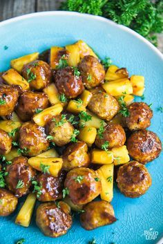 A sweet and tangy Pineapple BBQ Sauce coated over chicken meatballs.  Leave out the honey for Whole30