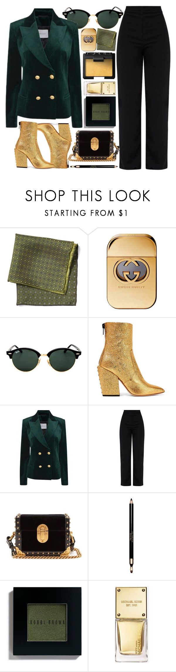 """Compliment"" by smartbuyglasses-uk ❤ liked on Polyvore featuring Ray-Ban, Petar Petrov, Pierre Balmain, Prada, Clarins, Bobbi Brown Cosmetics, Michael Kors, NARS Cosmetics, gold and GREEN"
