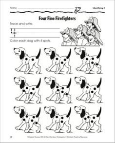 Four Fine Firefighters (Identifying 4): Number Practice