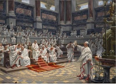 "The  Roman Senate made the laws and governed the Roman people. The Senate was made up of patricians,.- ANNEE 55 av JC: Germains et Bretons, 1) Campagne contre USIPELES et TENCTERES, 10: Selon Appien, qui s'appuie sur l'historien Canusius Germinus du 1°s av JC, CATON, l'implacable ennemi de César et grand ami de son co-consul de 59 av JC, MARCUS CALPURNIUS BIBULUS, propose au Sénat ""de livrer aux Barbares César comme l'auteur d'un acte exécrable aux yeux des députés""."