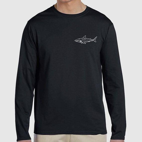 Great White Shark Illustration Long Sleeve by PaperTigersApparel