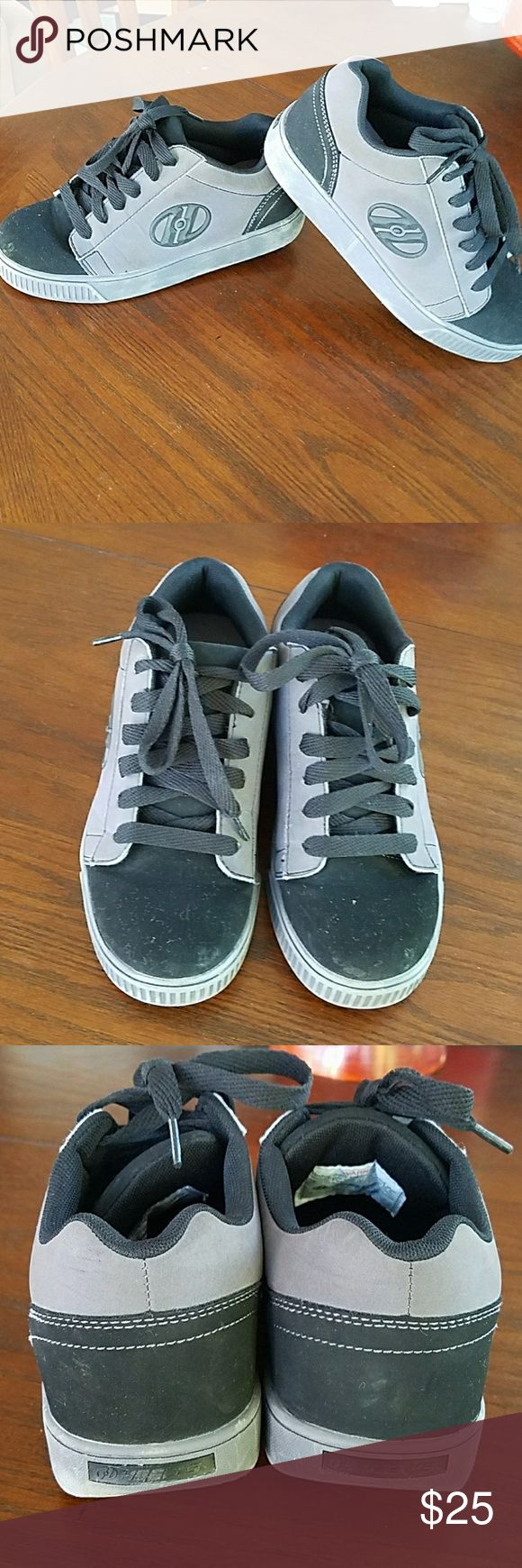 Heelys, youth skate shoes Heelys brand, youth sneakers skate shoes, used in great condition, black & charcoal gray, comes with all attachments (see pic), size 5 youth. Heeleys Shoes Sneakers