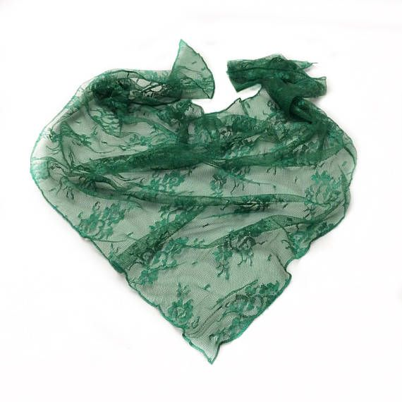 Emerald Green Scarves, Lace headscarves Birthday Gift for Coworker Milestone Gift for Friend, Pretty Head Scarves Lace Nechercheif scarf by blingscarves. Explore more products on http://blingscarves.etsy.com
