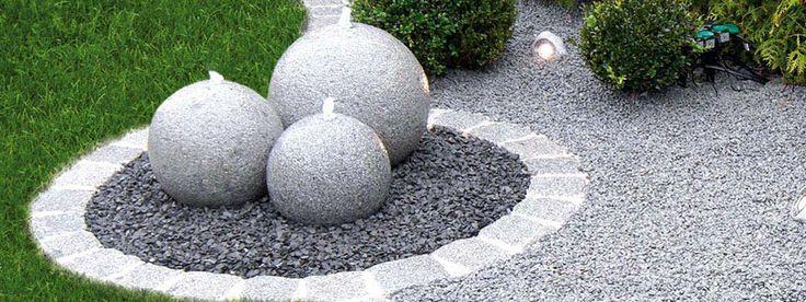 "Granitkugeln ""Pluton Hell"", Granitsplitt 8/11 mm und Zebrastone 8/16 mm"