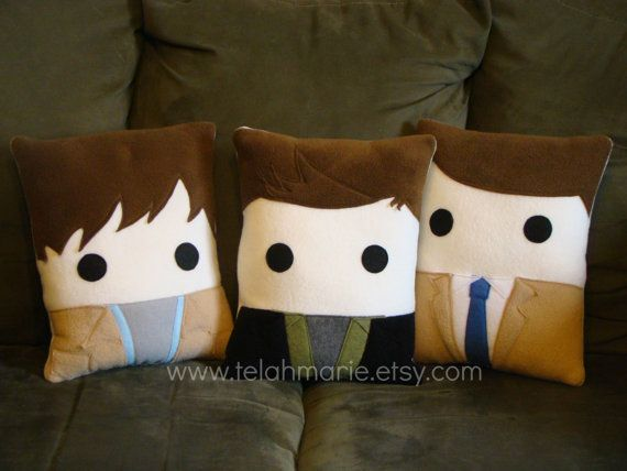 Supernatural Pillows - Sam Winchester Dean Winchester Castiel by telahmarie, $30.00