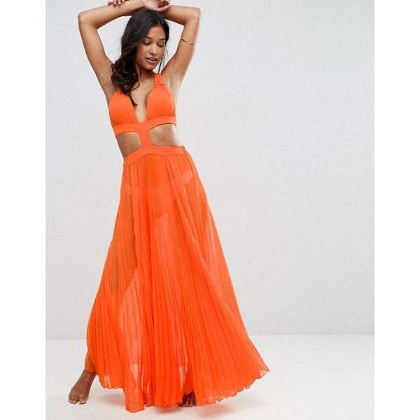 ASOS Cut Out Pleated Beach Maxi Beach Dress (€33) ❤ liked on Polyvore featuring dresses, orange, beach dresses, see-through dresses, cut out maxi dress, cut out dresses and beach maxi dress