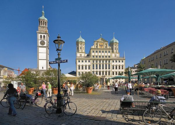 Augsburg, Germany - Town Hall and Perlach Tower. My birthplace is Augsburg, Germany