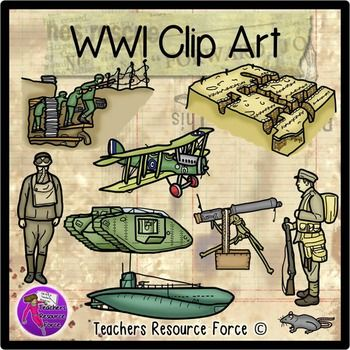 World War 1 clip art - color and black line. Product includes: • WW1 Trenches • WW1 Trench warfare • WW1 Airplane • WW1 Submarine • WW1 Tank • WW1 Machine gun • WW1 Soldier wearing gas mask • WW1 Soldier fully equipped • Trench rat