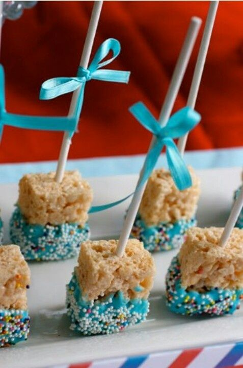 Cute idea for Baby Showers, Kids Birthdays, Easter, or just a quick treat! Make Rice Krispie Treats and then dip them into Velata White Premium Belgian Chocolate dyed Blue or any color you choose to make a cute treat to eat! www.Fondue-Treats.com