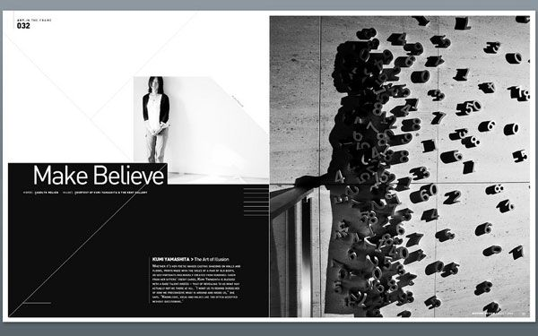 Magazine layout  Magazine layout  B & W, Headline, full picture on second page, little text on first page