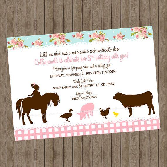 40 best Shabby Chic Farm Birthday Party images on Pinterest Farm - fresh invitation birthday simple