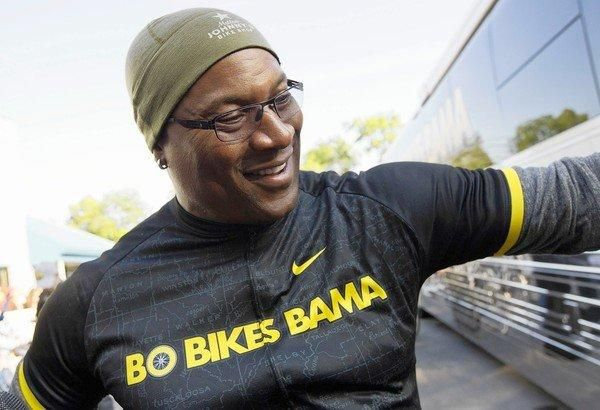 Bo Jackson participated in a 300-mile bike ride to benefit tornado victims in Alabama.