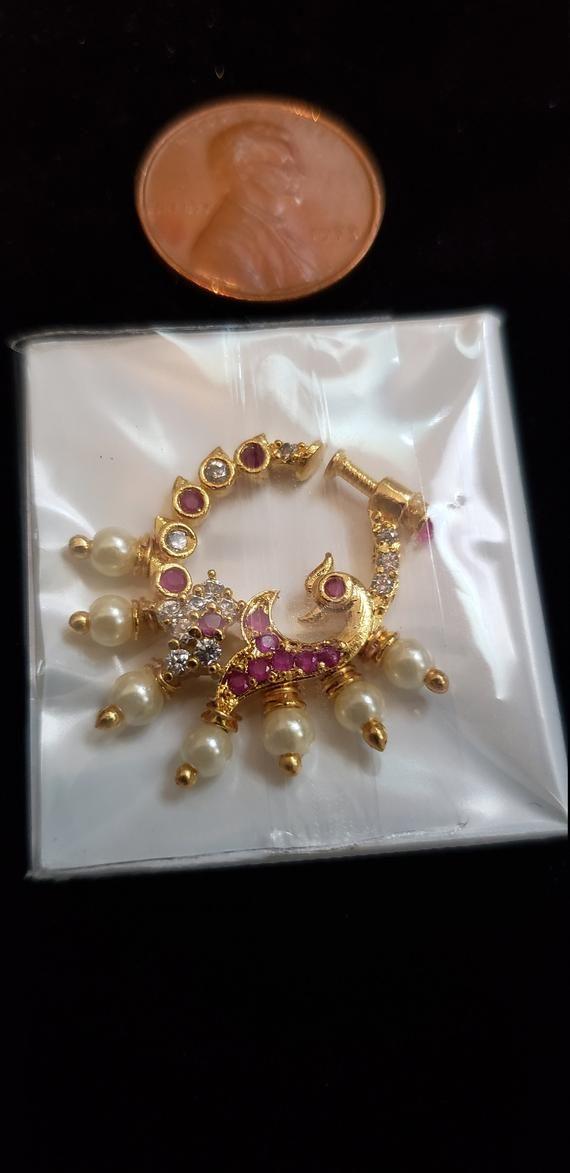 Bollywood Nath Gold Plated Cz Kundan Nose Pin Indian Bridal