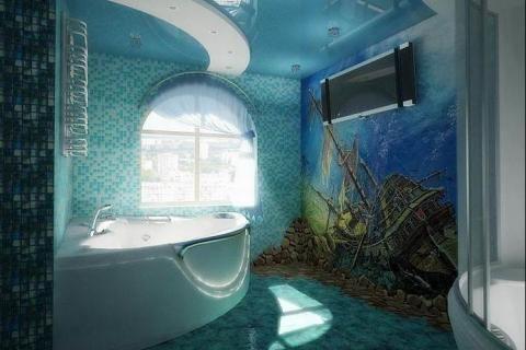 Ванная комната с затонувшим кораблем