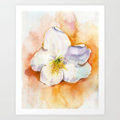 Rhododendron flower on a table. Watercolor.  Art Print by Kira Sokolovskaya - $14.48