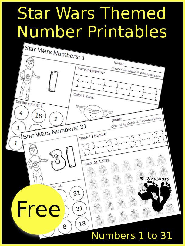 Free Star Wars Number Pack Printables Star Wars Classroom Star Wars Activities Star Wars Theme