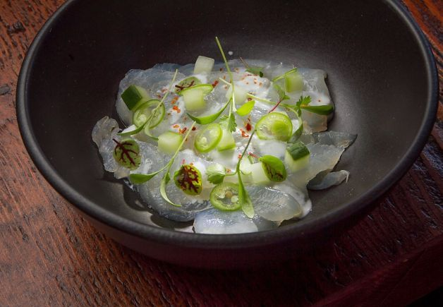 The local halibut ceviche at 1601 Bar and Kitchen in San Francisco.