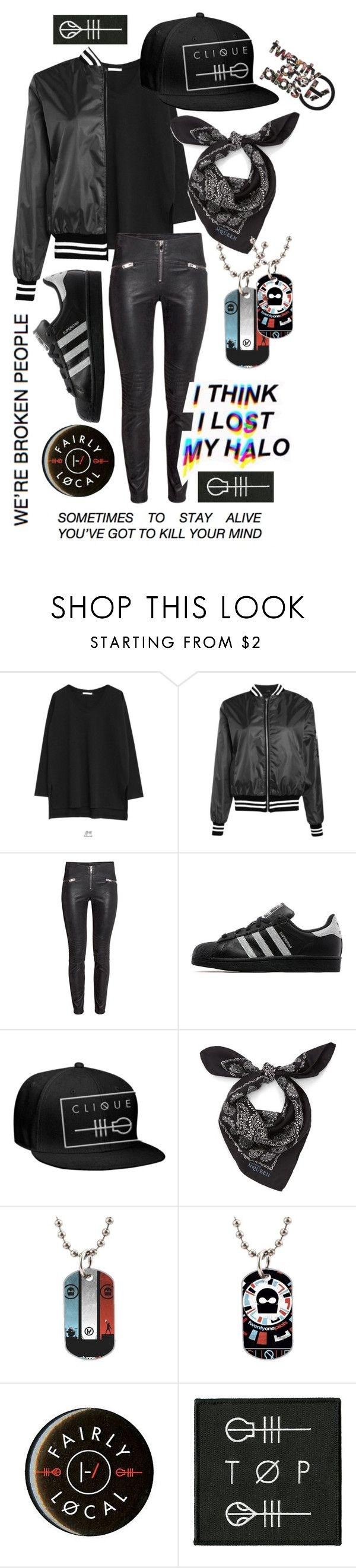 """""""Twenty one pilots's outfit"""" by allisjess ❤ liked on Polyvore featuring Goroke, Boohoo, adidas Originals, Alexander McQueen, women's clothing, women, female, woman, misses and juniors"""