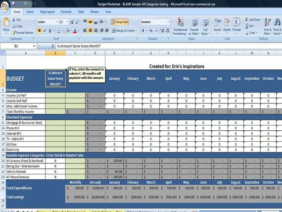 Budget Worksheet in Excel, Instant Download, Financial Printables - monthly financial report excel template